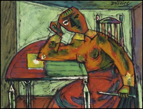 seated woman by jean philippe dallaire
