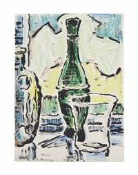 stilleben mit flasche, vase und glas by karl schmidt-rottluff