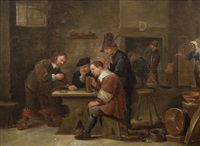 a tavern interior with figures eating, drinking and gambling by david teniers the younger