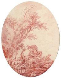 bergers et leur troupeau sur une route by olivier lemay