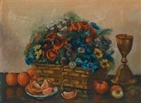 stilleben mit blumenkorb, orangen, äpfeln und kelch by leon abramowicz