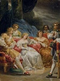 une élégante compagnie discutant by alexandre-évariste fragonard