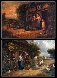 figures and animals before a cottage (+ another; pair) by john locker