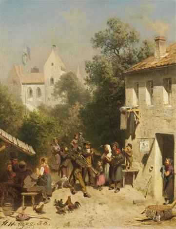 village tavern with brass band by hermann herzog