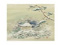 spring snow at rokuon-temple by yoson ikeda