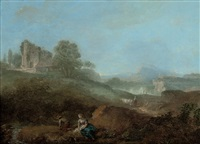 a wooded landscape with figures fishing in a stream, a village beyond by john rathbone