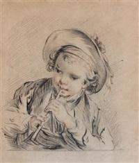 portrait d'un jeune garçon jouant de la flûte by jean jacques augustin raymond aubert