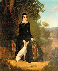 portrait of lady with dog by hilaire lenglet
