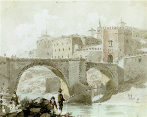 a view of the bridge at toledo by david alphonse de sandoz rollin