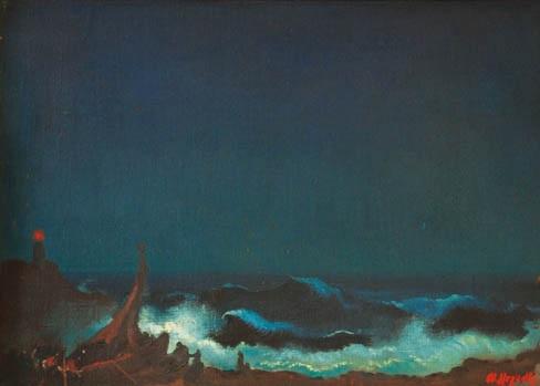 Night sea with a lighthouse by Otakar Nejedly on artnet
