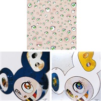 jellyfish eyes/ and then x 6 blue/ and then x 6 (white: the superflat method, blue and yellow ears) (set of 3) by takashi murakami