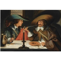 two cavaliers seated at a table smoking and drinking by wolfgang heimbach