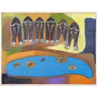 untitled (herd of musk ox) by janet kigusiuq