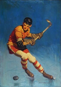 hockey player ready to slap puck (magazine cover illus.) by harold n. anderson