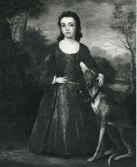 portrait of a young girl with her dog by john medina