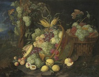 grapes, nectarines, peaches, plums, figs and a melon by thomas mertens