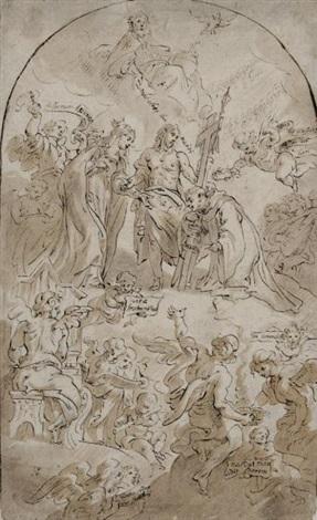 saint accueilli au ciel par le christ et la vierge by theodor van thulden