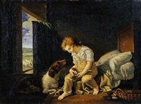 un jeune garçon nourrissant des petits chiots by marie elénore godefroy