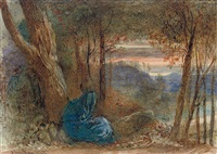 a wayfarer resting by a lake by james smetham