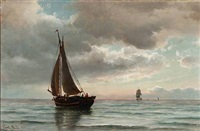 seascape with sailing ships by carl ludwig bille