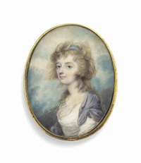 a young lady called mrs radcliffe, in white dress with fichu, lilac surcoat, pale blue ribbon in her powdered curling hair; sky background by joseph saunders
