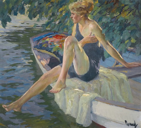die badenixe the bather by edward cucuel
