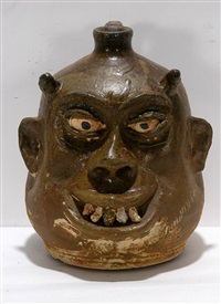 fat jowel rock tooth devil face jug by lanier meaders