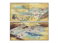 a spring and fall in heian era six-fold screen by kumon roen