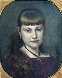 portret van meisje met hangend haar by pieter willem sebes