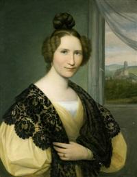 porträt von fräulein johanna schaumburg mit schwarzem spitzentuch vor einem fenster mit durchblick auf die martinskirche in kassel by august von der embde