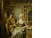 a man and woman smoking, drinking and cracking nuts in an interior by hieronymus van der mij
