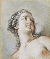 study of a young woman, bust length, seen from below by françois boucher