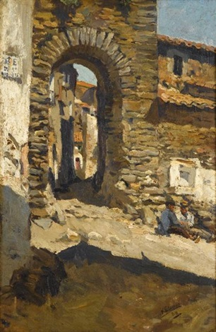figures by a sunlit archway by francisco gimeno arasa
