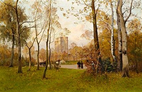 autumn day in the bois de boulogne by henri linguet