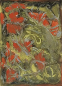 untitled (gray, red and yellow abstraction) by beauford delaney