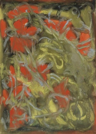 untitled gray red and yellow abstraction by beauford delaney