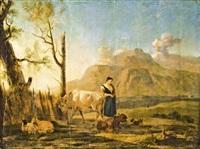 pásztorleány jószágaival by karel dujardin