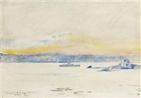 afterglow, gloucester harbor (ten pound island light) by childe hassam