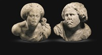 pair of busts of a man and a woman, perhaps portia and brutus by italian school (16)