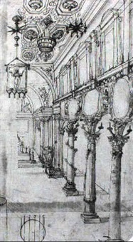 design for the nave of a church with ornamental columns by giovanni alberti