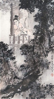 人物 镜片 设色纸本 by yang shanshen