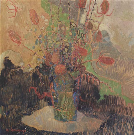 a vase with flowers by albert saverys