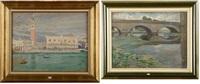 la palais ducal et le campanile de venise vus de la lagune par temps de pluie et le vieux pont (2 works) by lucien-hector jonas