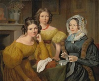madame vieyres and her daughters by jacques-laurent agasse