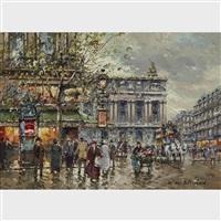 place de l'opera et le cafe de la paix a paris en by antoine blanchard