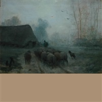 herdsman and sheep on a misty road by martinus jacobus nefkens