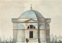 elevation of the church of the cemetary of kazan, tsarskoye selo by giacomo quarenghi