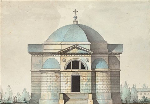 elevation of the church of the cemetary of kazan tsarskoye selo by giacomo quarenghi