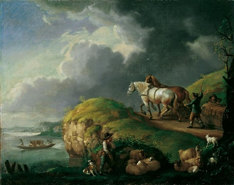 flusslandschaft mit pferdegespann by philips wouwerman