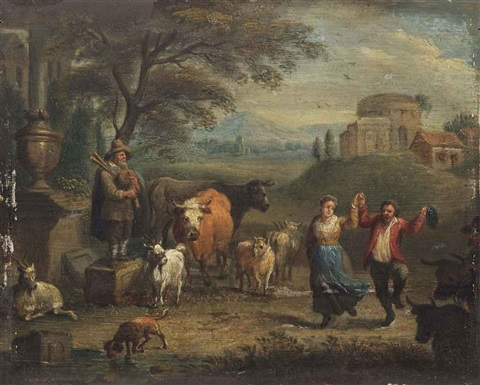a landscape with a dancing peasant couple and cattle classical ruins beyond by theobald michau